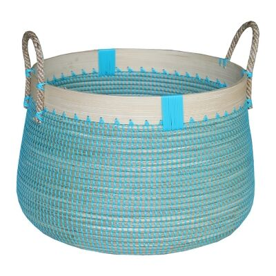 Clovelly Woven Seagrass Laundry Basket, Large, Ocean Blue