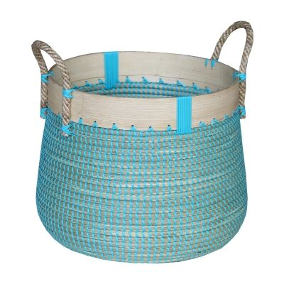 Clovelly Woven Seagrass Laundry Basket, Small, Ocean Blue
