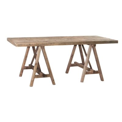 Roma Rustic Fir Timber Trestle Dining Table, 200cm