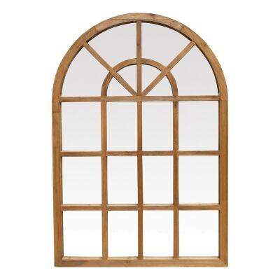 Denton Fir Timber Frame Arch Window Wall Mirror, 155cm