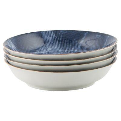 Murriverie 4 Piece Porcelain Shallow Bowl Set, Navy