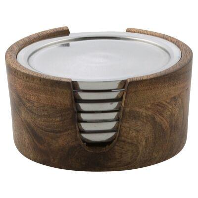 Pinda 6 Piece Mango Wood & Aluminium Coaster Set