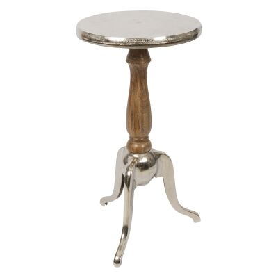 Pinda Mango Wood & Aluminium Round Side Table, Small