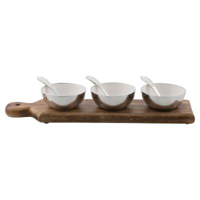 Pinda 7 Piece Mango Wood & Aluminium Condiment Bowl Set