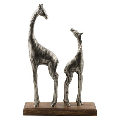 Pinda Aluminium Giraffes Figurine on Mango Wood Base