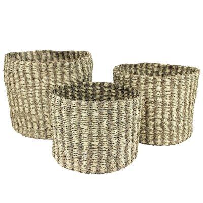Xyra 3 Piece Hand Woven Seagrass Round Basket Set