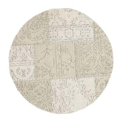 Celeste Chenille & Cotton Bohemian Patchwork Round Rug, 120cm, Beige / Cream