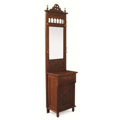 One Drawer + Cupboard Mirror Solid Mahogany Hall Stand - Mahogany