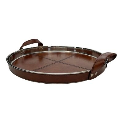 Winston Leather & Stainless Steel Round Tray