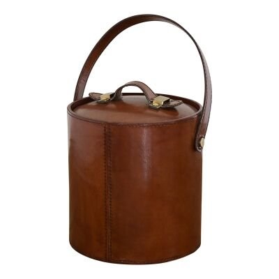 Winston Leather & Stainless Steel Ice Bucket with Tongs