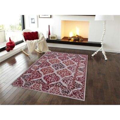 Botanical Modern Style No.1072 Hand Tufted Wool Rug in Red/Beige - 190x280cm
