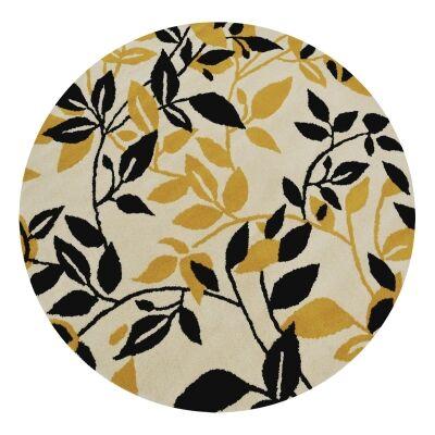 Botanical Leaves Handmade Round Wool Rug, 150cm, Gold