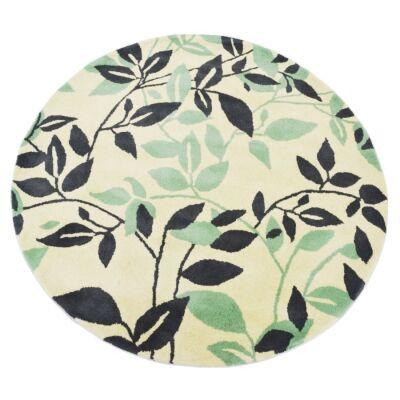 Botanical Leaves Handmade Round Wool Rug, 150cm, Green