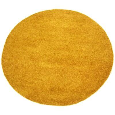 Bulloo Handmade Round Wool Rug, 90cm, Mustard