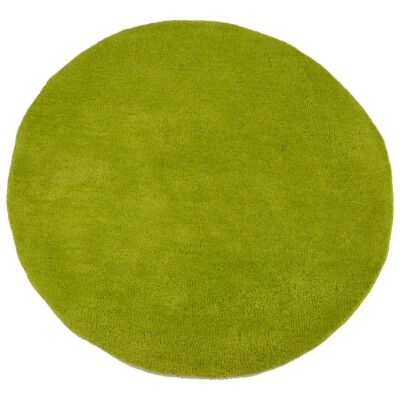 Bulloo Handmade Round Wool Rug, 90cm, Green