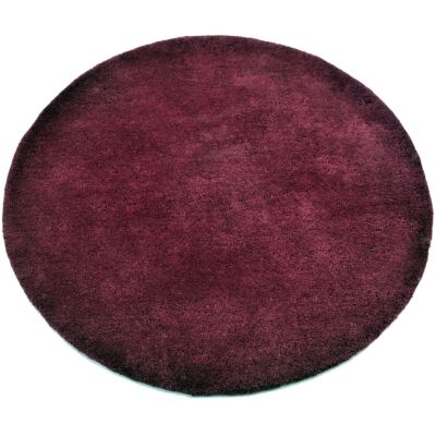 Bulloo Handmade Round Wool Rug, 90cm, Plum