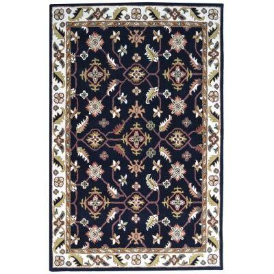 Luqman Handmade Wool Kashan Rug, 160x110cm, Black / Cream