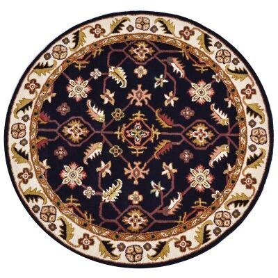Luqman Handmade Wool Round Kashan Rug, 160cm, Black / Cream