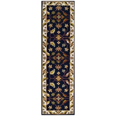 Luqman Handmade Wool Kashan Runner Rug, 300x80cm, Black / Cream