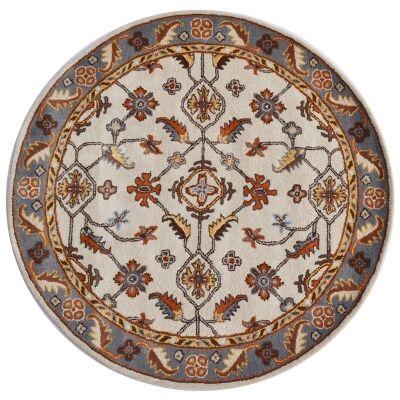 Luqman Handmade Wool Round Kashan Rug, 160cm, Cream / Grey