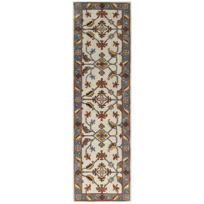 Luqman Handmade Wool Kashan Runner Rug, 300x80cm, Cream / Grey