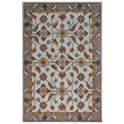 Luqman Handmade Wool Kashan Rug, 280x190cm, Cream / Grey