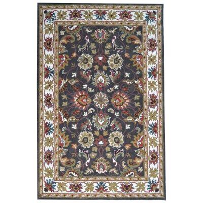 Shana Handmade Wool Kashan Rug, 160x110cm, Grey / Ivory