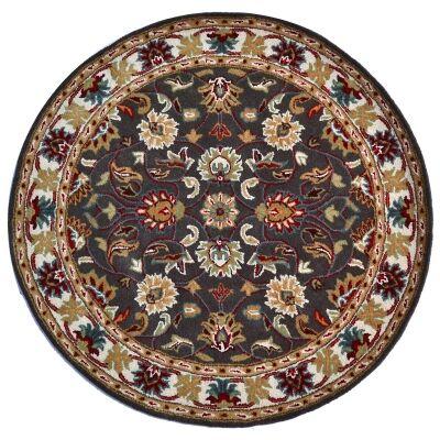 Shana Handmade Wool Round Kashan Rug, 160cm, Grey / Ivory