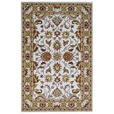 Shana Handmade Wool Kashan Rug, 160x110cm, Ivory / Cream