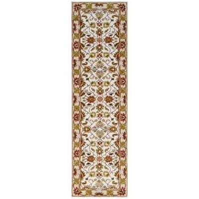 Shana Handmade Wool Kashan Runner Rug, 300x80cm, Ivory / Cream