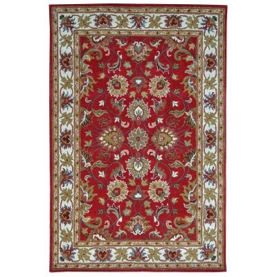 Shana Handmade Wool Kashan Rug, 160x110cm, Red / Ivory