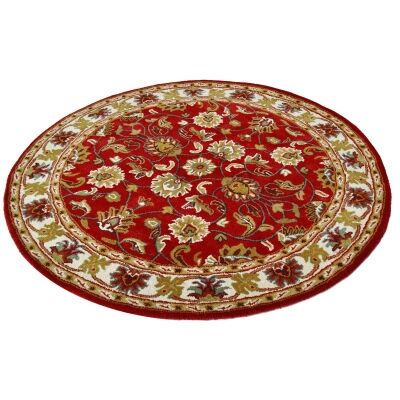 Shana Handmade Wool Round Kashan Rug, 160cm, Red / Ivory