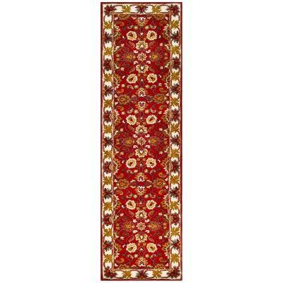 Shana Handmade Wool Kashan Runner Rug, 300x80cm, Red / Ivory