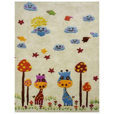 Giraffe Friend Handwoven Wool Kids Rug, 160x110cm