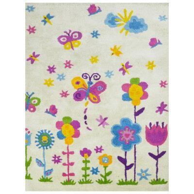 Violet Fantasy Handwoven Wool Kids Rug, 160x110cm