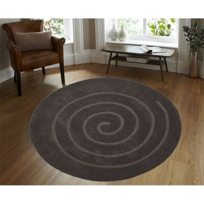 Round Wool Rug - Swirl - Brown- (160cm Diameter)