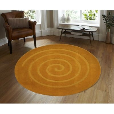 Round Wool Rug - Swirl - Orange - (160cm Diameter)