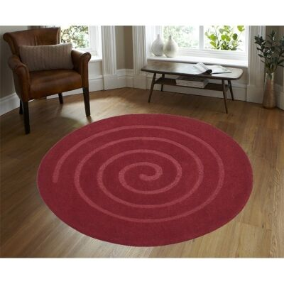 Round Wool Rug - Swirl - Red - (160cm Diameter)