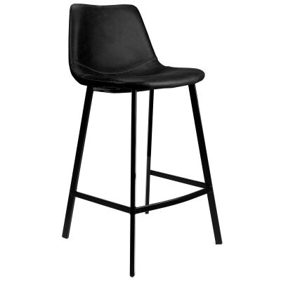 Byrne Faux Leather Counter Stool, Black