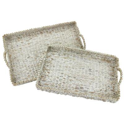 Naje 2 Piece Hand Woven Water Hyacinth Rectangular Tray Set