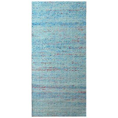 Tribal Mira No.1089 Handwoven Wool Runner Rug, 300x80cm, Aqua