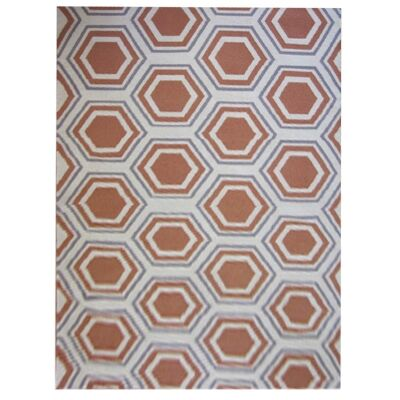 Sweden Honeycomb Hand Tufted Wool Dhurrie Rug, 230x160cm, Apricot