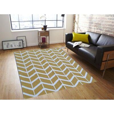 Trendy Woollen Durries in Yellow - 200x300cm