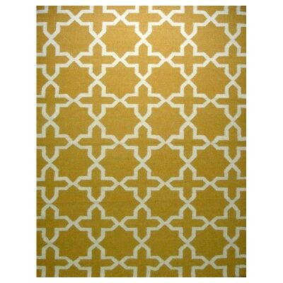 Sweden Anise Star Hand Tufted Wool Dhurrie Rug, 230x160cm, Yellow