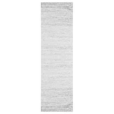 Ridges Handwoven Wool Runner Rug, 300x80cm, Ivory