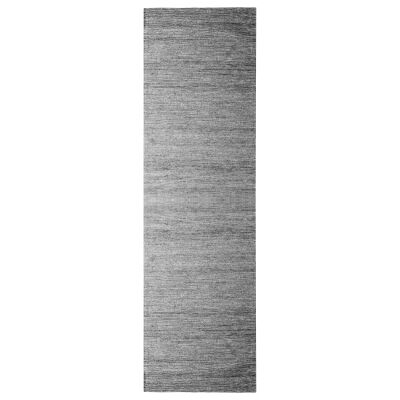 Ridges Handwoven Wool Runner Rug, 300x80cm, Silver