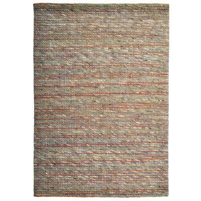 Sua Handwoven Wool Rug, 90x60cm, Orange/Charcoal