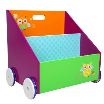 Little Owl Kids Magazine Rack on Wheels