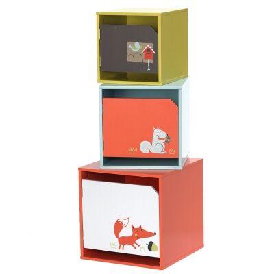 Little Fox 3 Piece Kids Swinging Door Storage Box Set