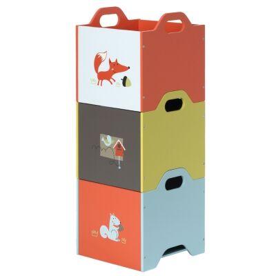 Little Fox 3 Piece Kids Top Load Storage Box Set